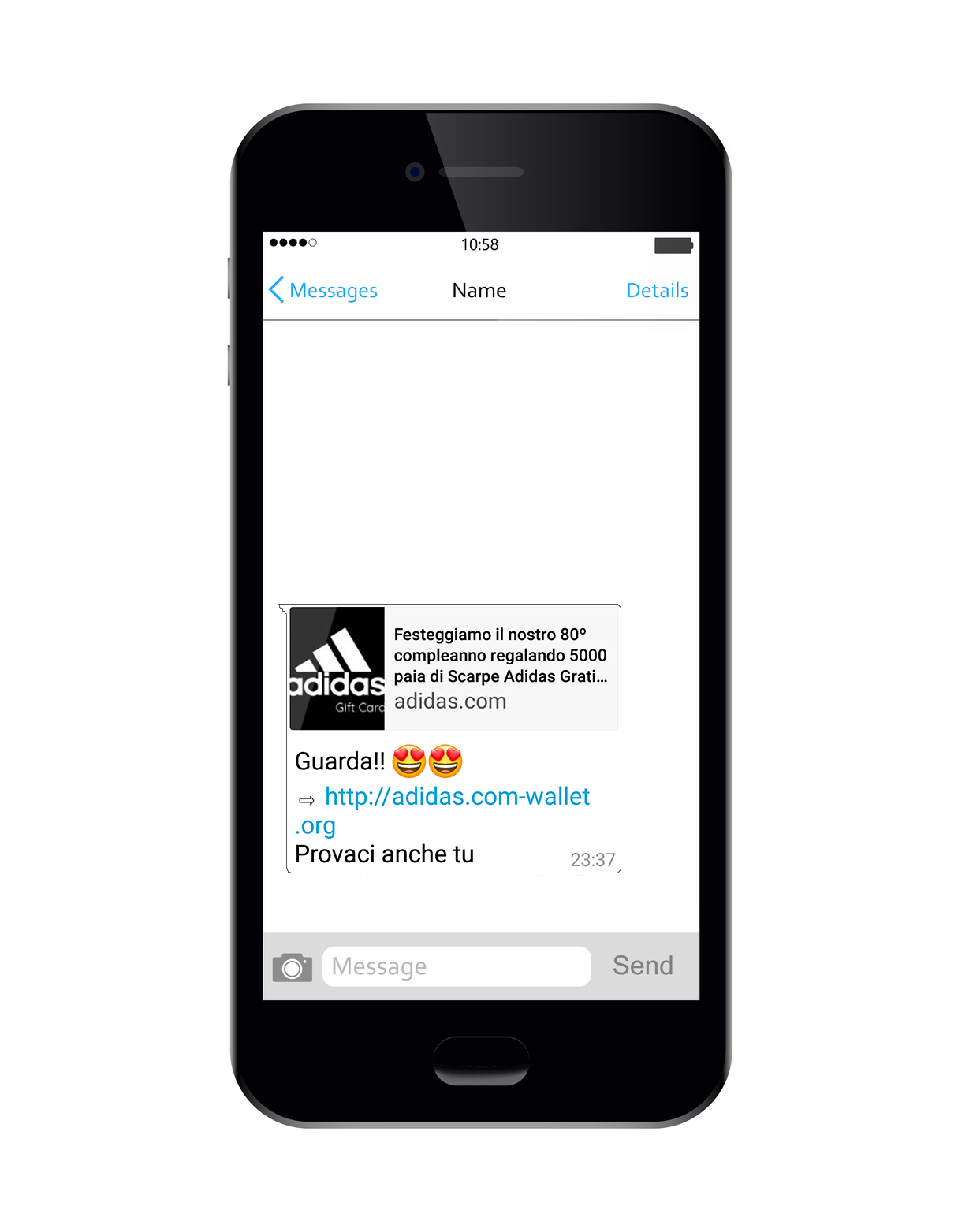 Phishing Adidas su Whatsapp