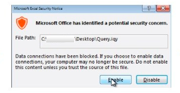 File .IQY, warning Excel